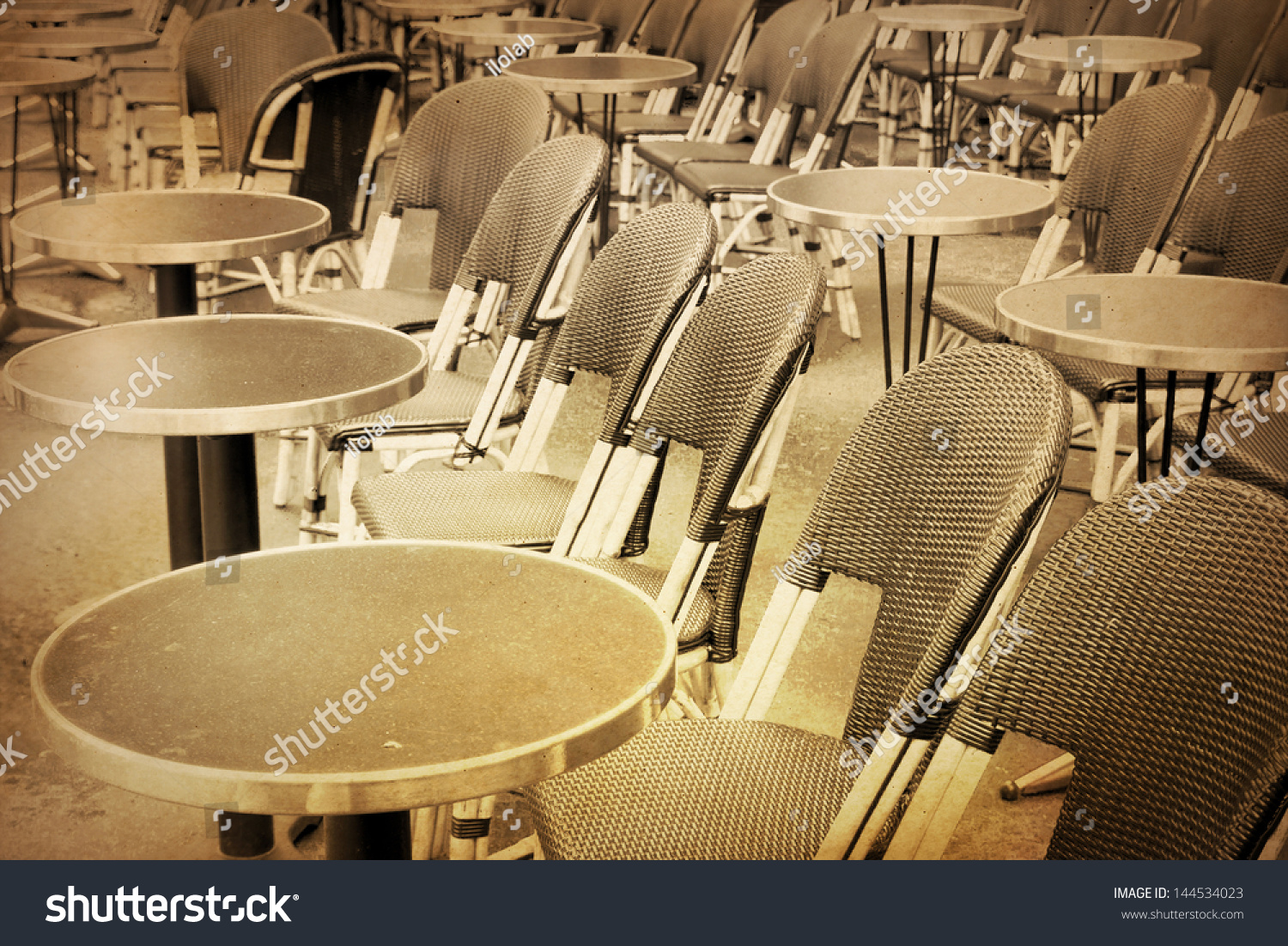 Oldfashioned Coffee Terrace Tables Chairsparis France Stock Photo 144534023 Shutterstock