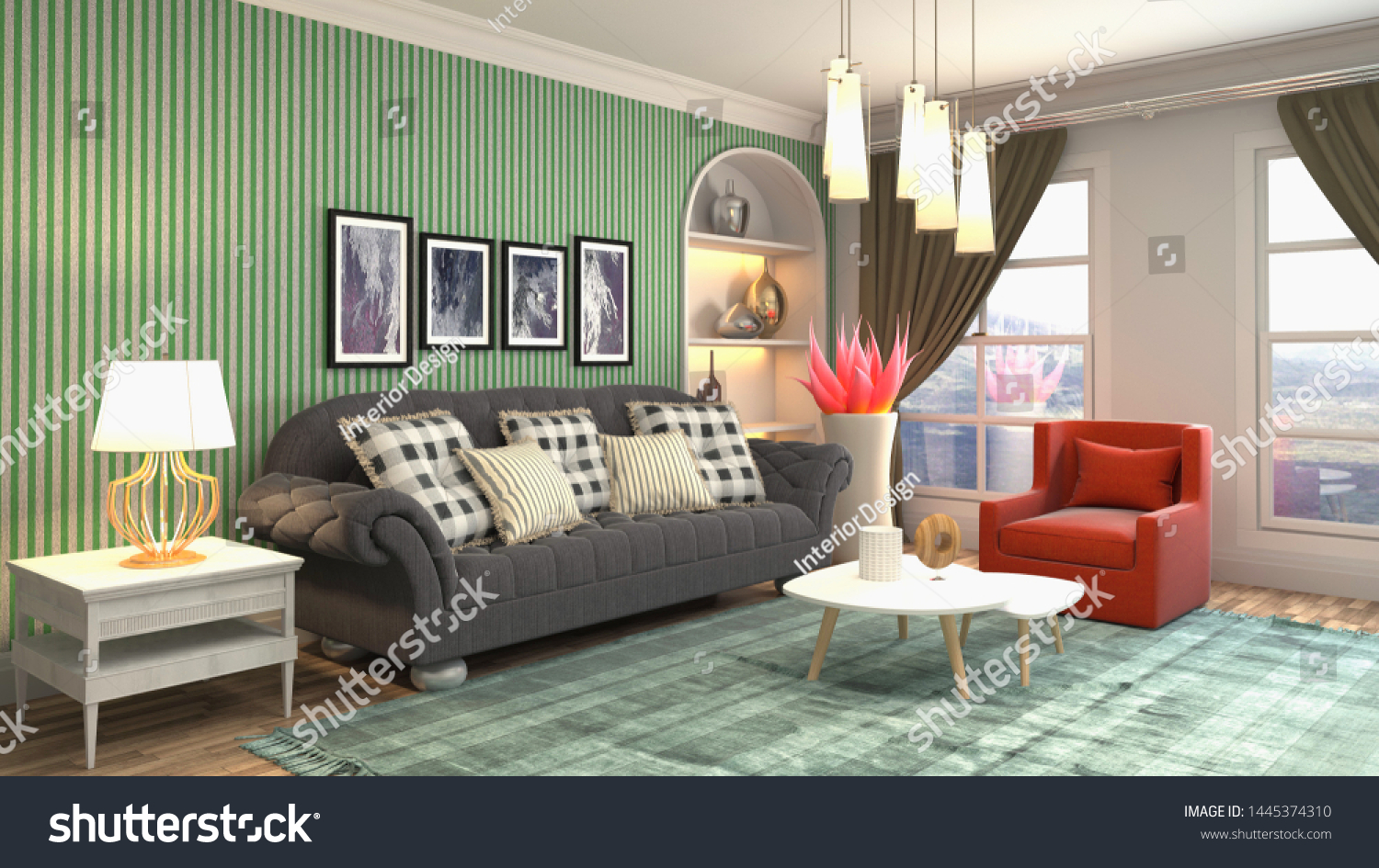 Interior of the living room. 3D illustration. #1445374310