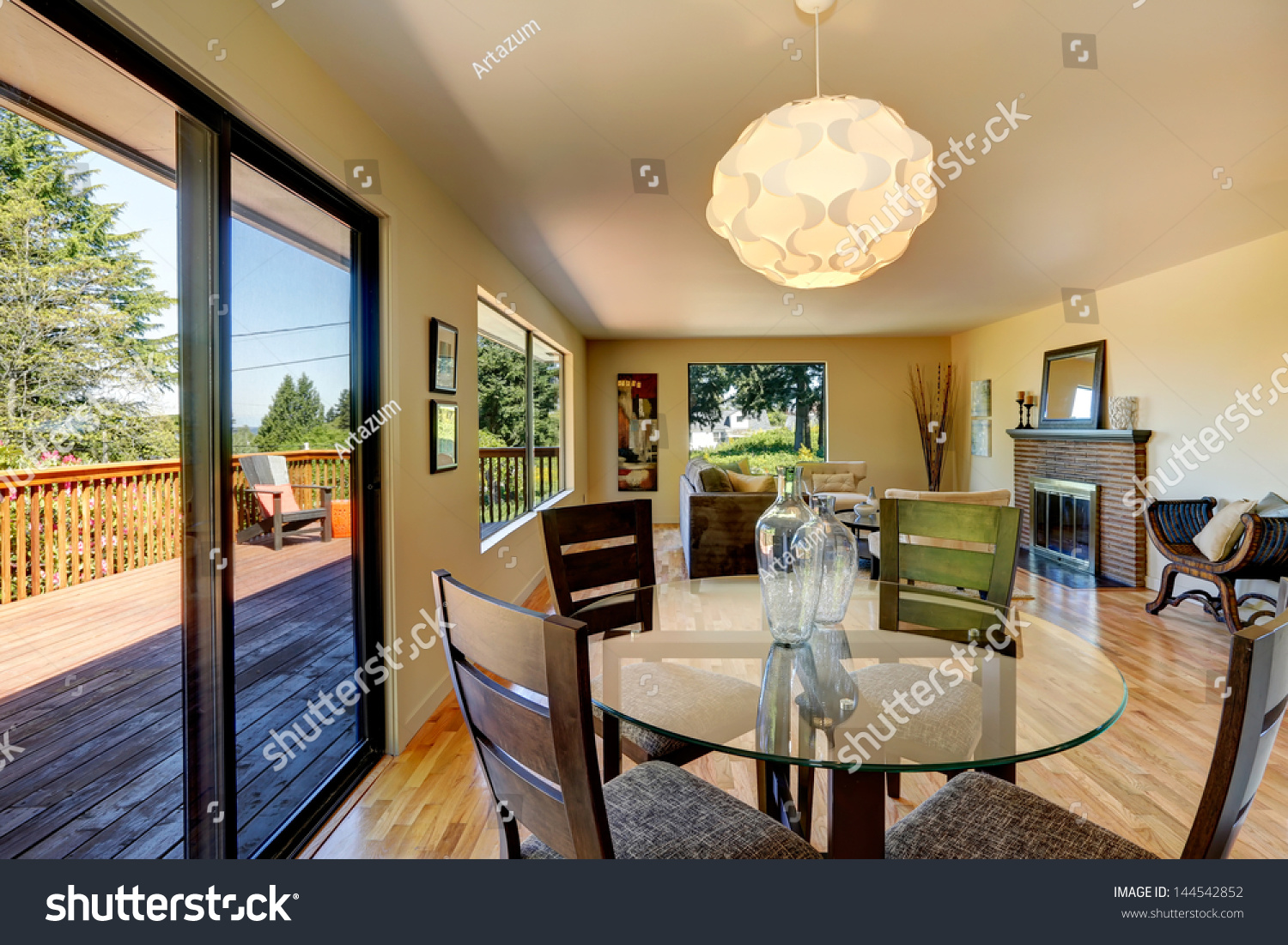 Dining Room With Fireplace Large Long Living Stock Photo 144542852