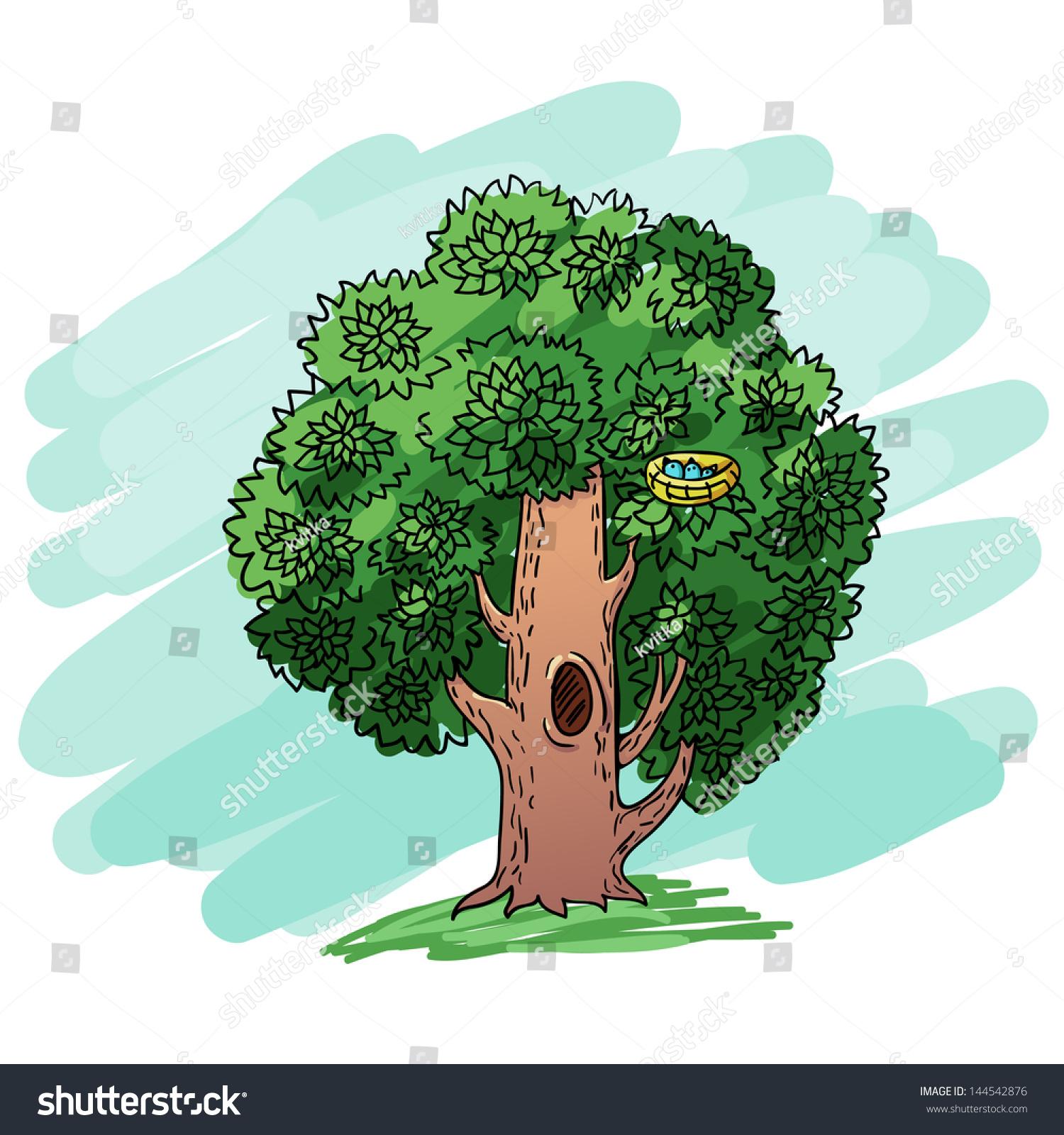cute tree with nest and birdscartoon stock vector