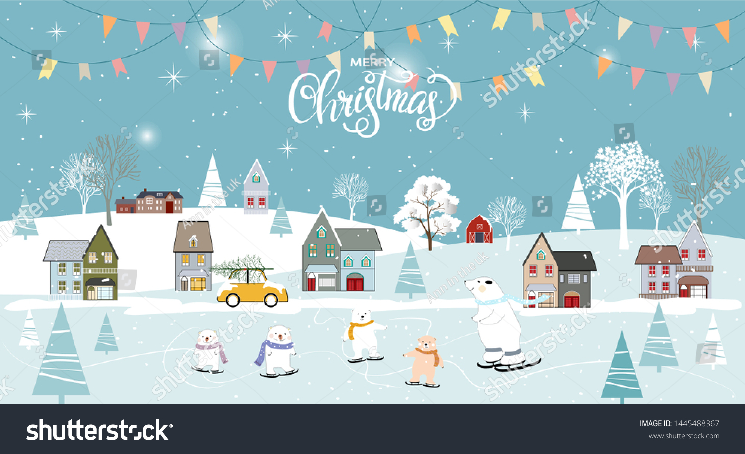 stock vector panoramic of winter landscapes with snow vector of horizontal banner of winter wonderland with cute 1445488367
