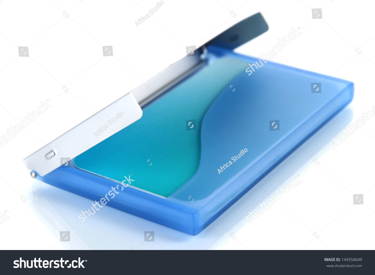 Blue Business Card Holder Isolated On Stock Photo 144550649 ...