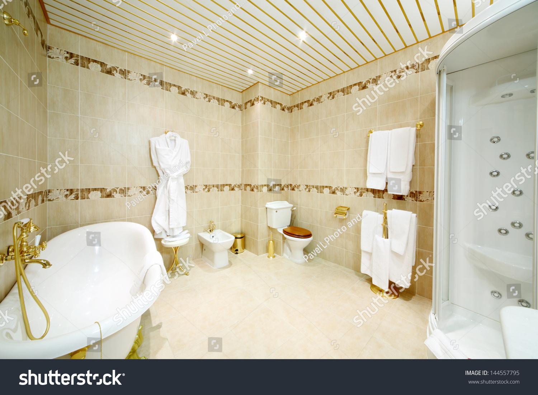 Clean Bathroom Bath Shower Cabin Toilet Stock Photo (Edit Now ...