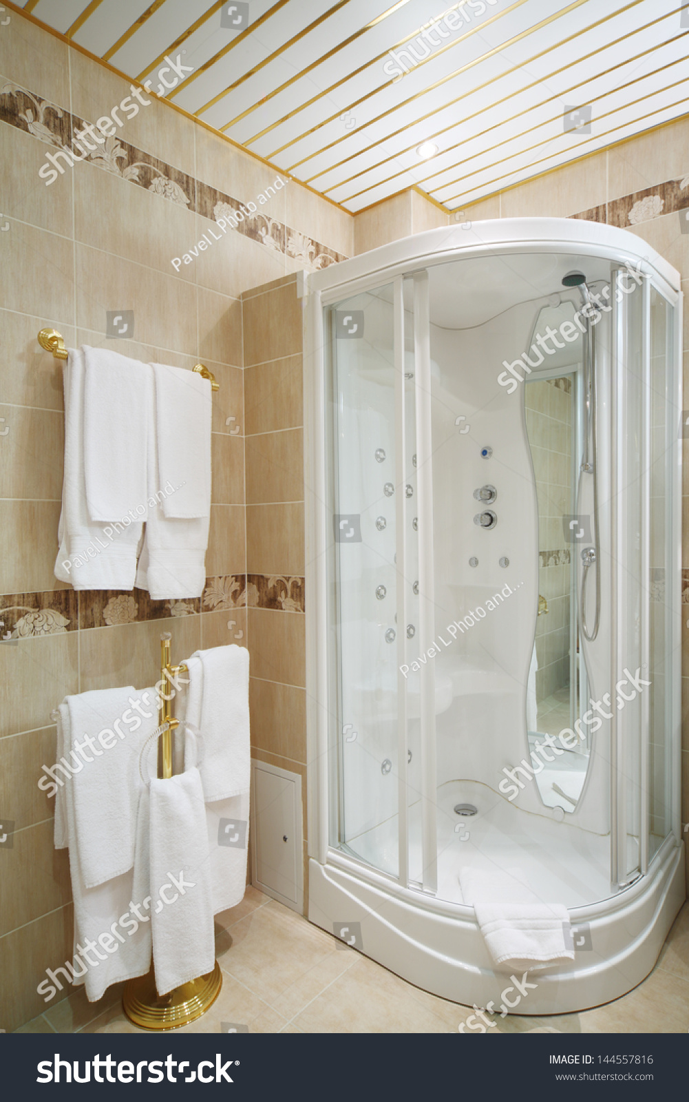 Clean Bathroom Shower Cabin Hangers White Stock Photo (Royalty Free ...