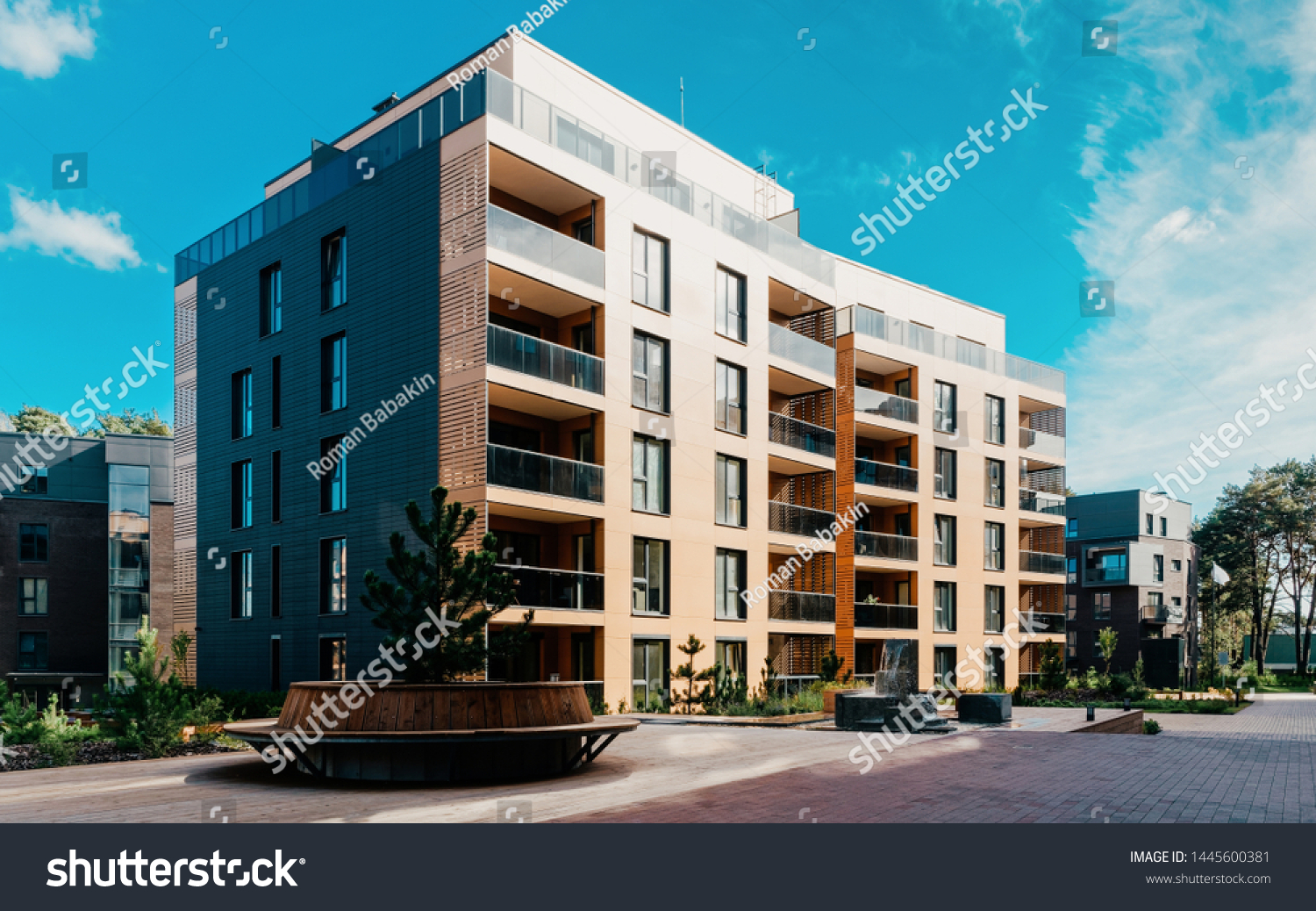 EU Pine tree at architectural complex of residential buildings. And outdoor facilities. #1445600381