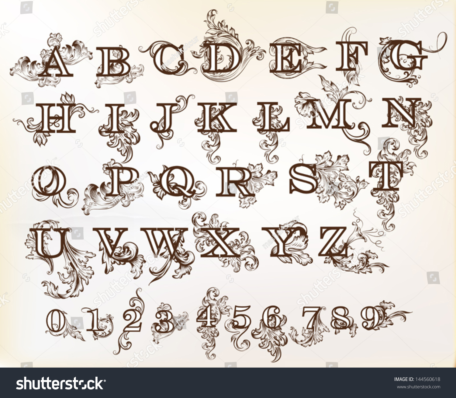 Decorative English Letters For Design. Calligraphic Vector - 144560618 ...