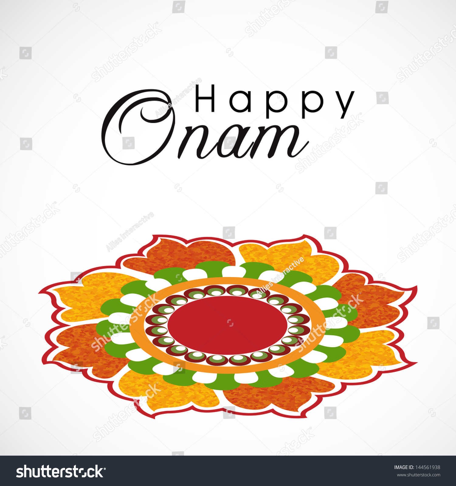 South Indian Festival Onam Wishes Background Stock Vector 144561938