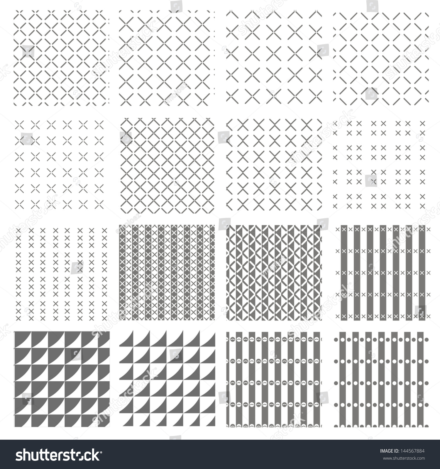 Vector Pattern Set Background Repeat Stock Vector 144567884