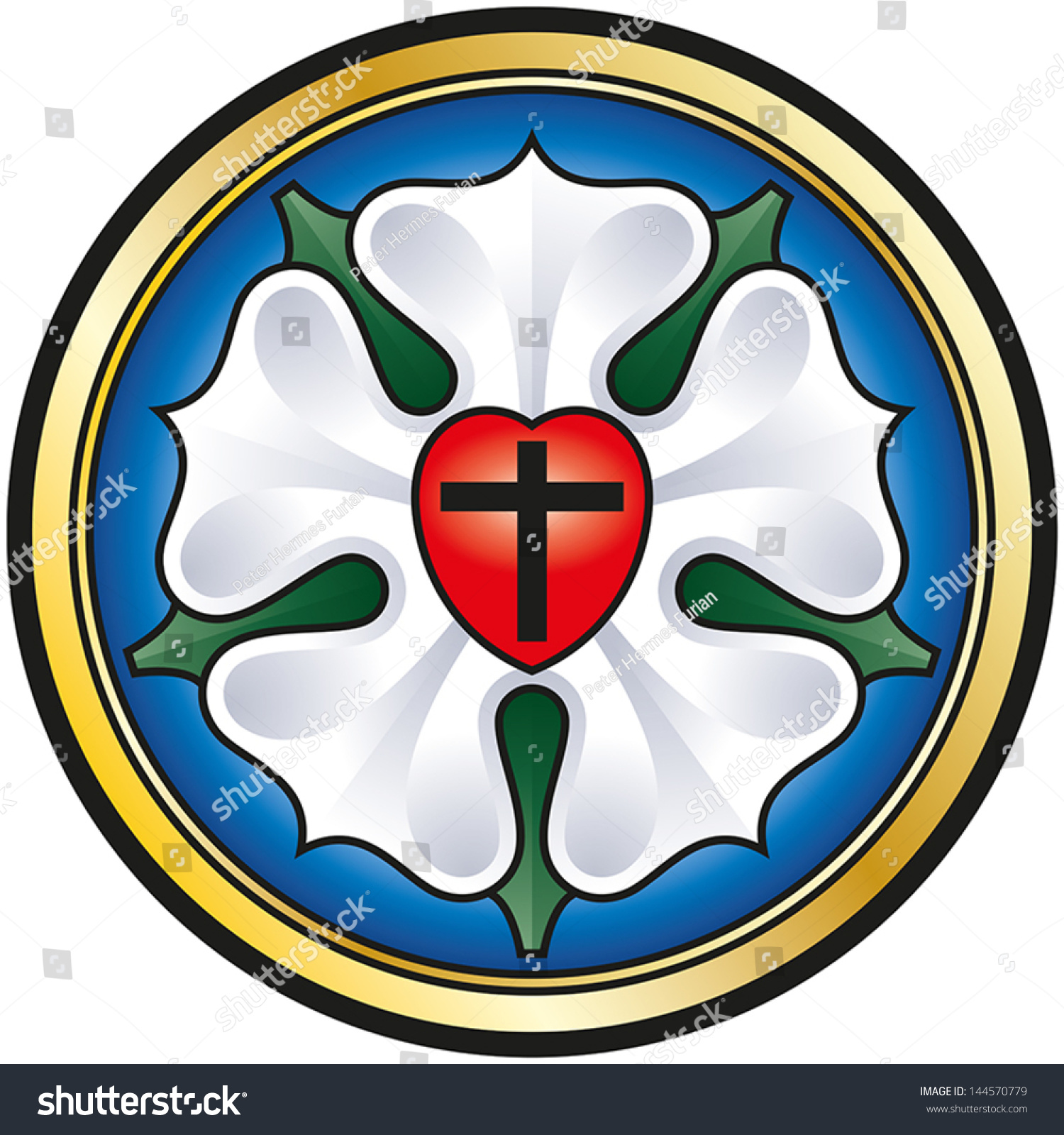 Luther Rose. Colorized Illustration Of The Luther Seal, A Symbol For Lutheranism. A ...
