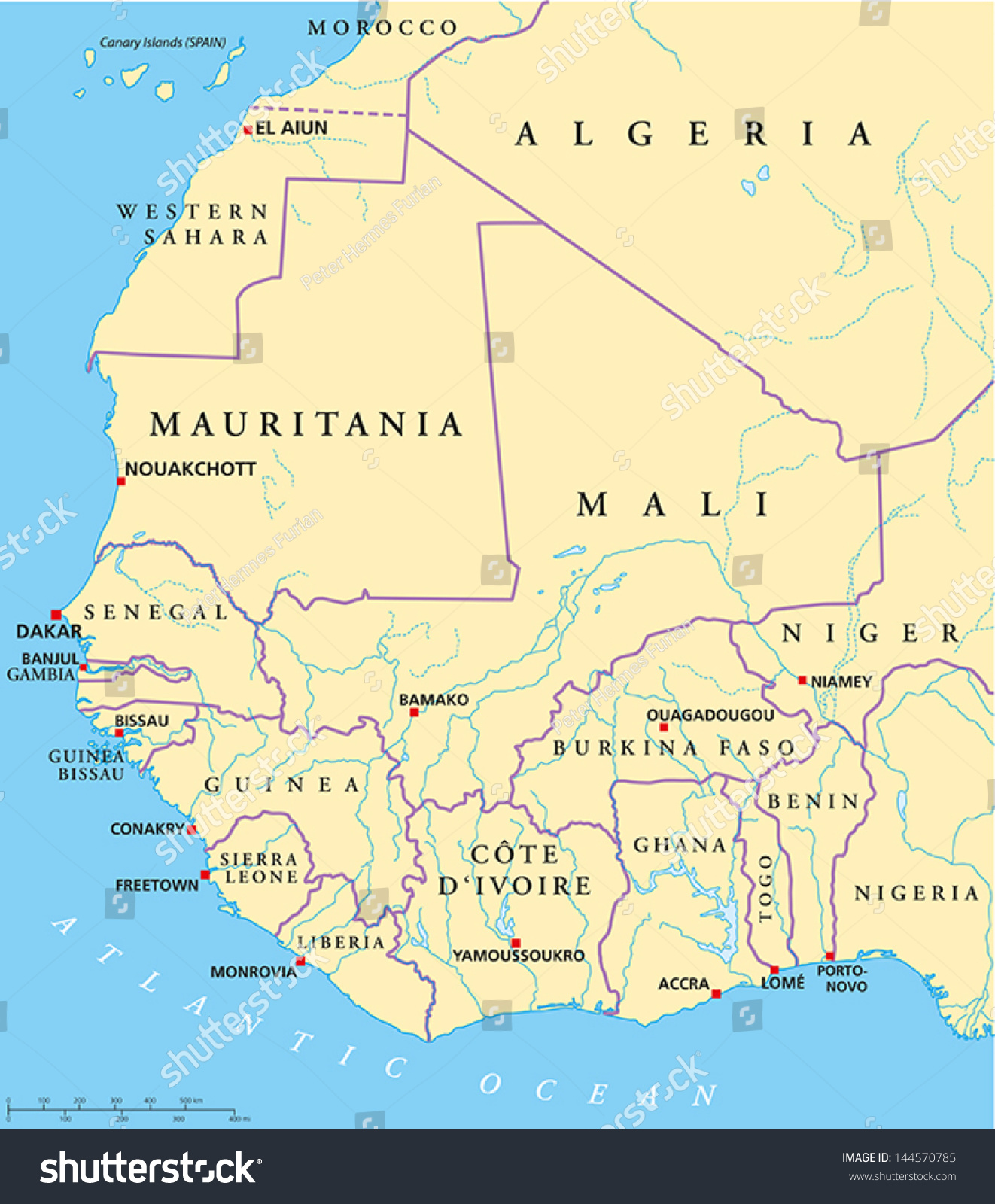 western africa map with capitals