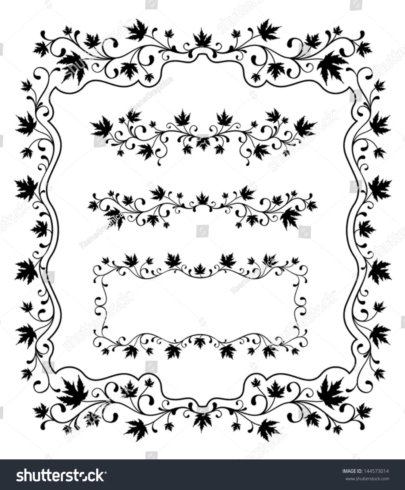 Ornamental Frames Borders Maple Leaves Stock Vector 144573014 ...