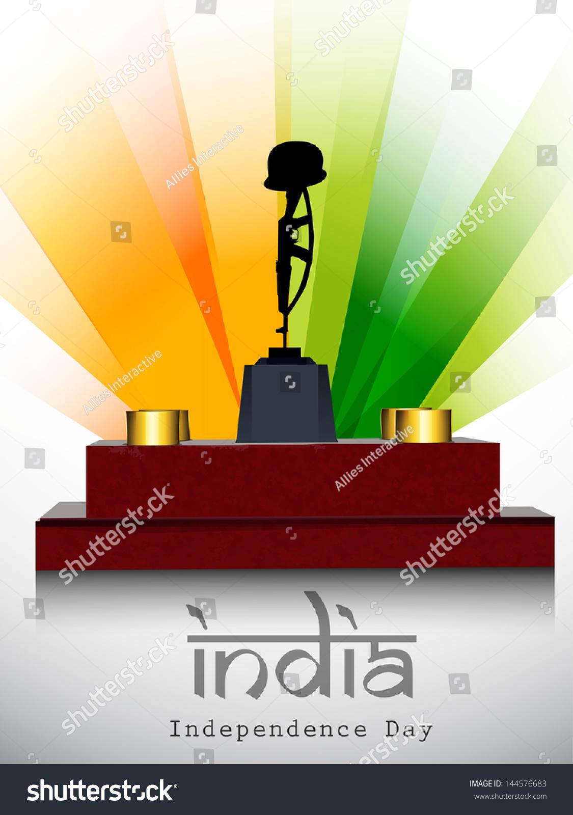 Indian independence day background amar jawan stock vector 144576683 indian independence day background with amar jawan jyoti on national flag rays background altavistaventures Image collections