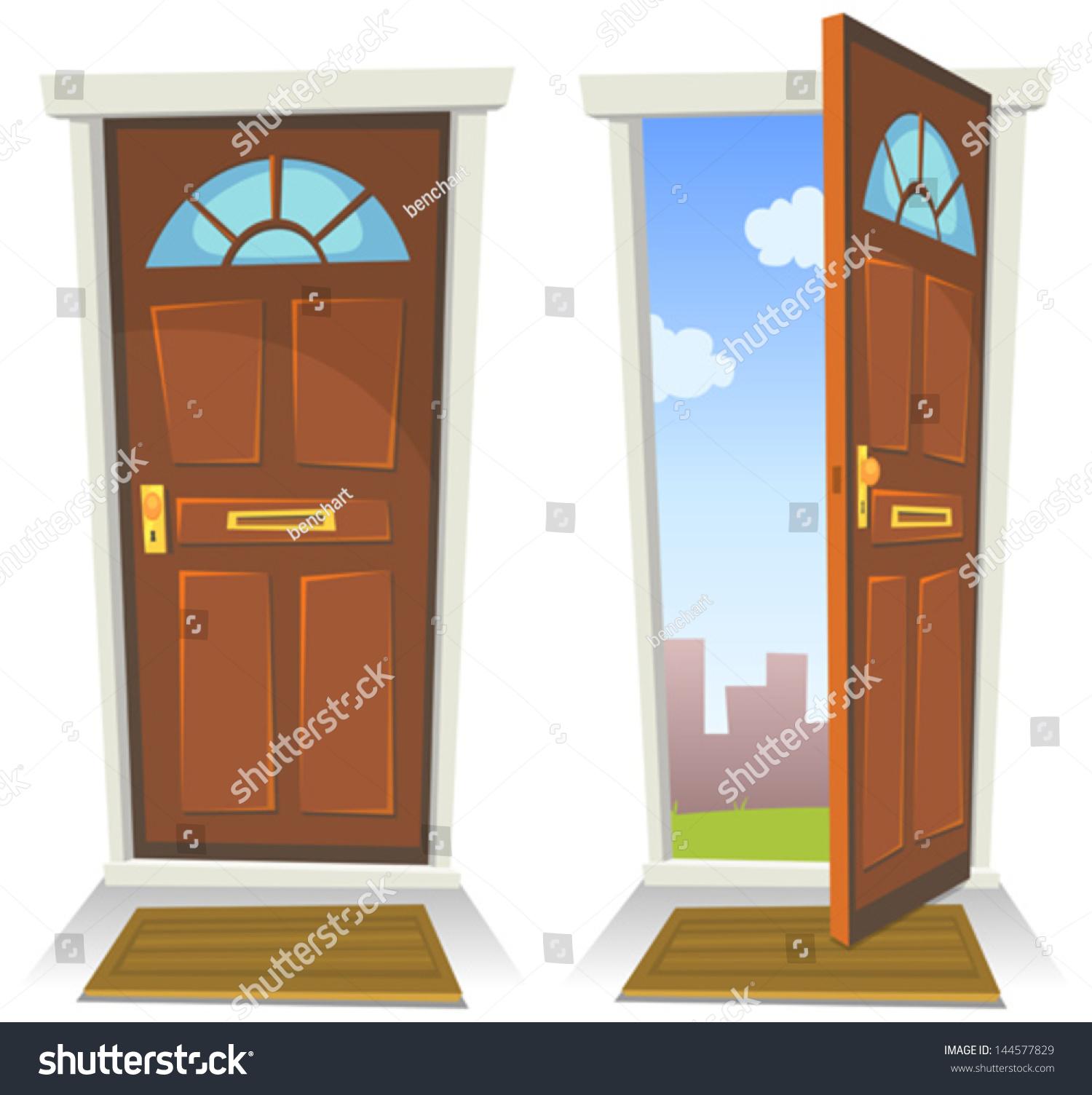 Cartoon Red Door Open Closed Illustration Stock Vector