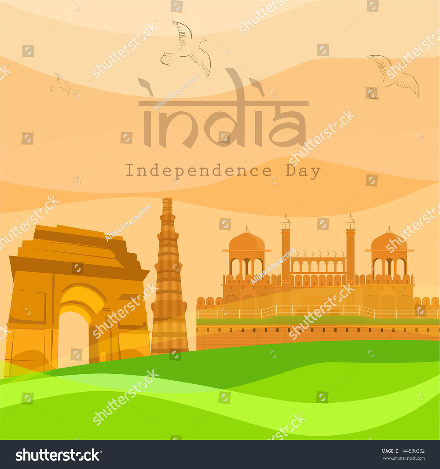Indian Independence Day Background Famous Monuments Stock