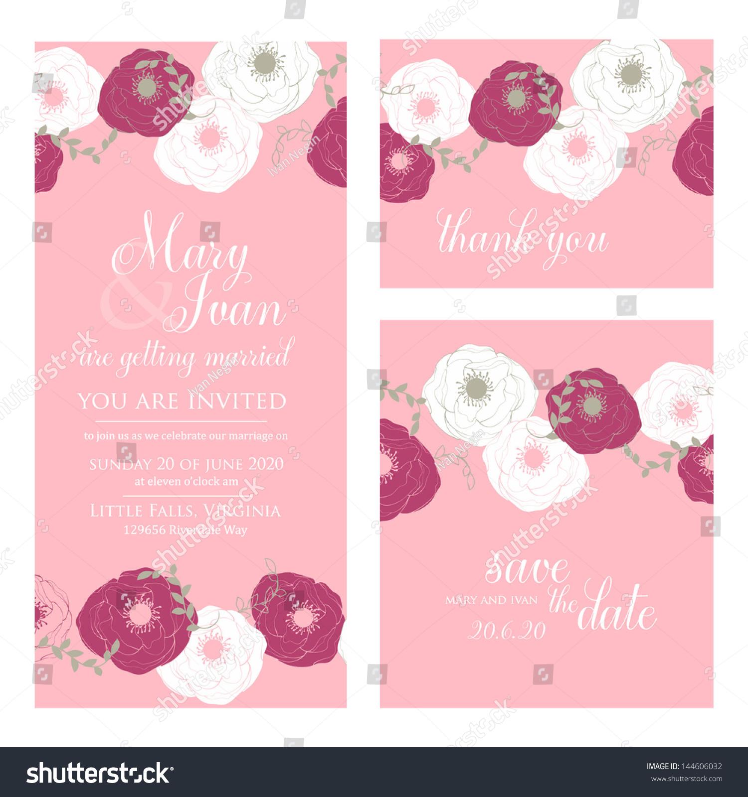 Wedding Invitation Thank You Card Save Stock Vector 144606032 ...