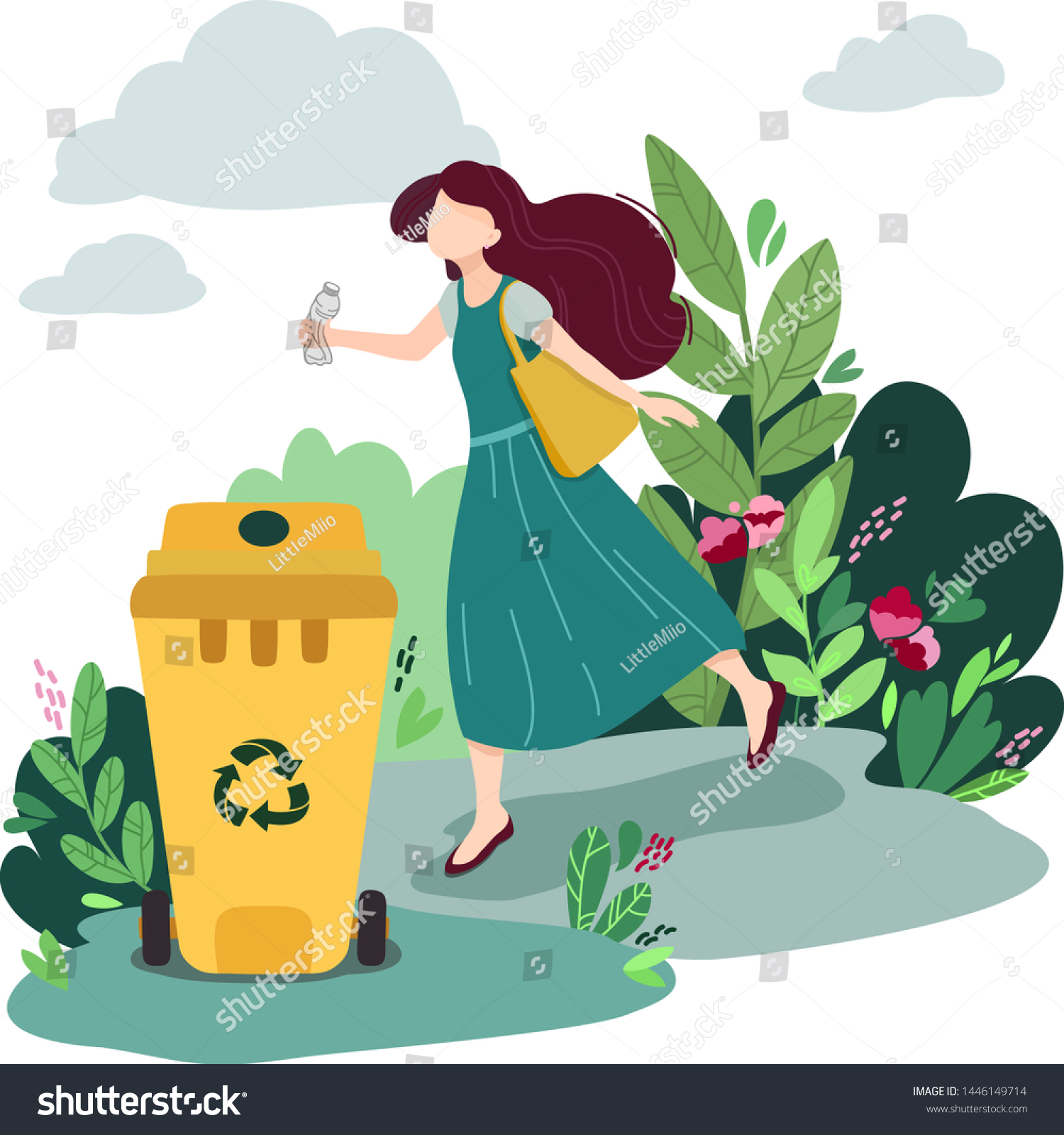 Pretty Woman Sort Plastic Garbage Into Stock Vector Royalty Free 1446149714