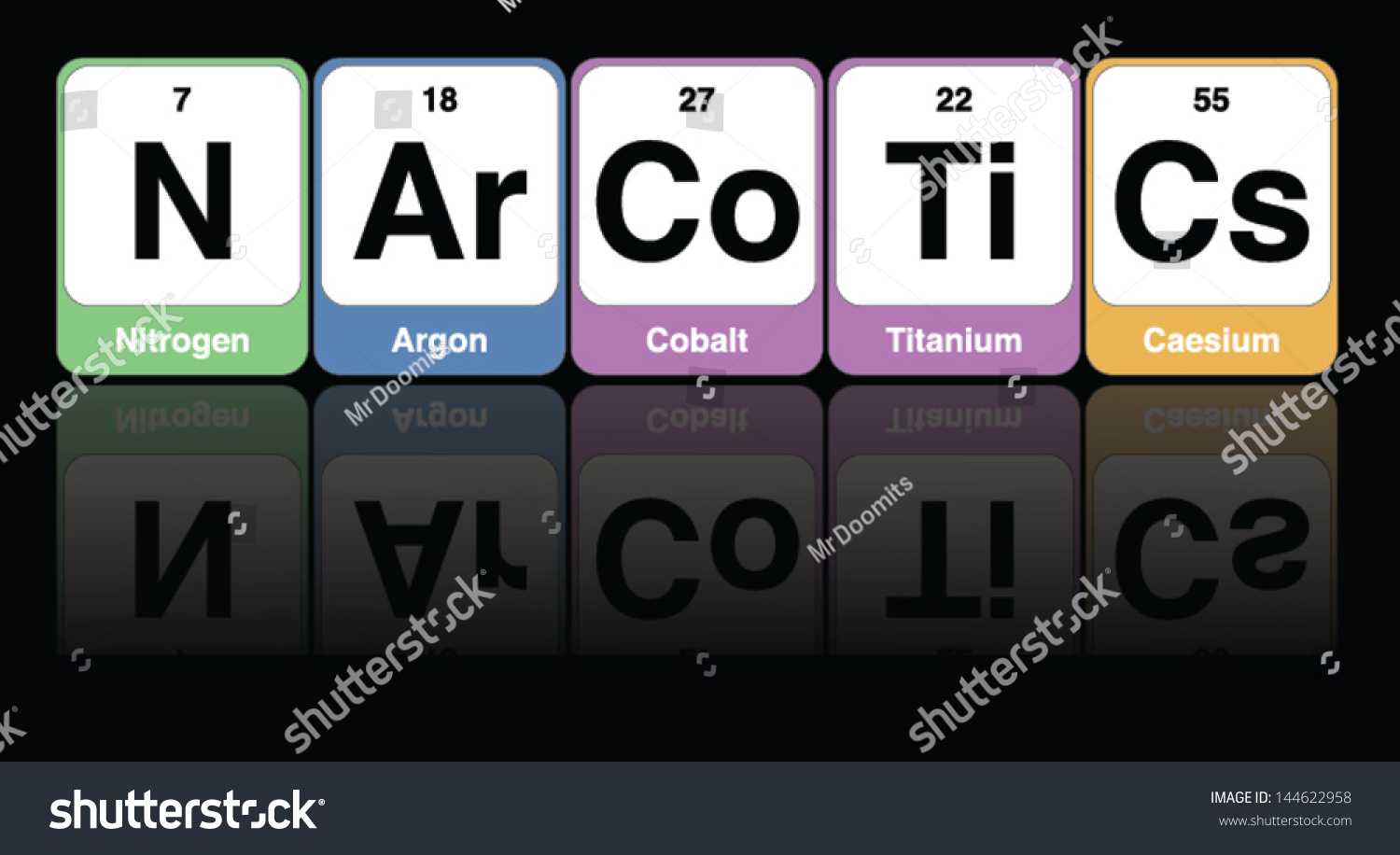 Medical vector periodic table elements spelling stock vector medical vector of periodic table elements spelling the word narcotics urtaz Image collections