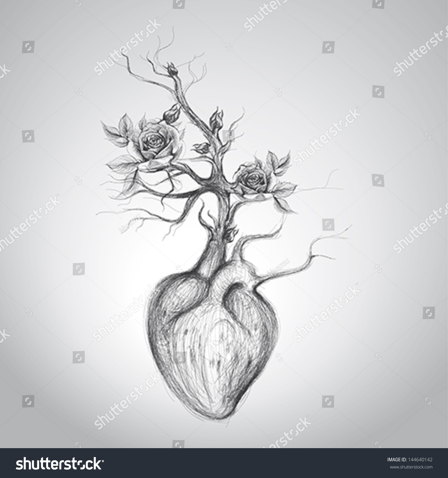 The heart is in blossom surreal romantic sketch