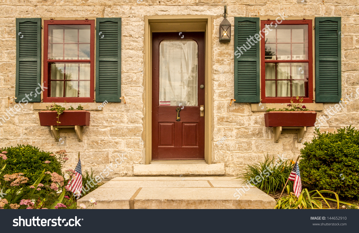 Red Door Green Shutters Flower Boxes Stock Photo 144652910