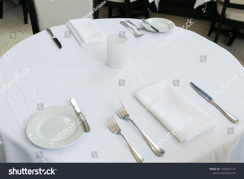 Table Setting Fine Dining Restaurant White Stock Photo Edit Now 1446647174