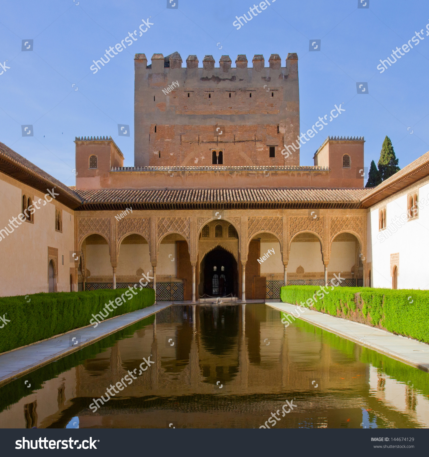 Patio De Los Arrayanes (Court Of The Myrtles) In La Alhambra, Granada, Spain ...