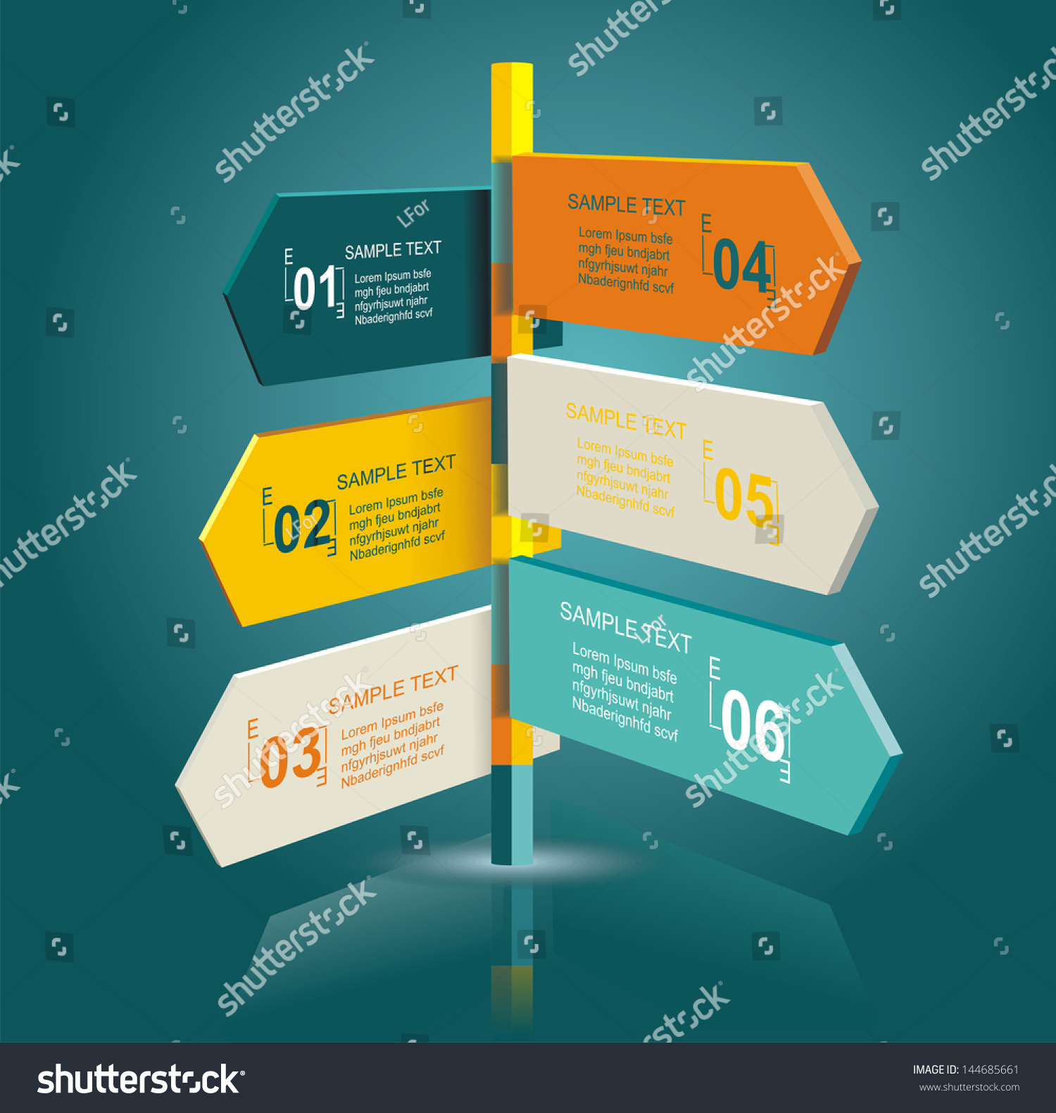 diagram template multidirectional pointers on signpost stock
