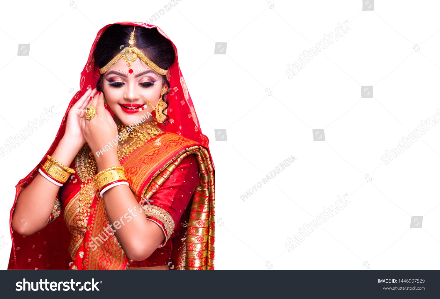 Indian Model Traditional Indian Bridal Makeup Stock Photo Edit Now 1446907529,Dresses For Beach Wedding Guest