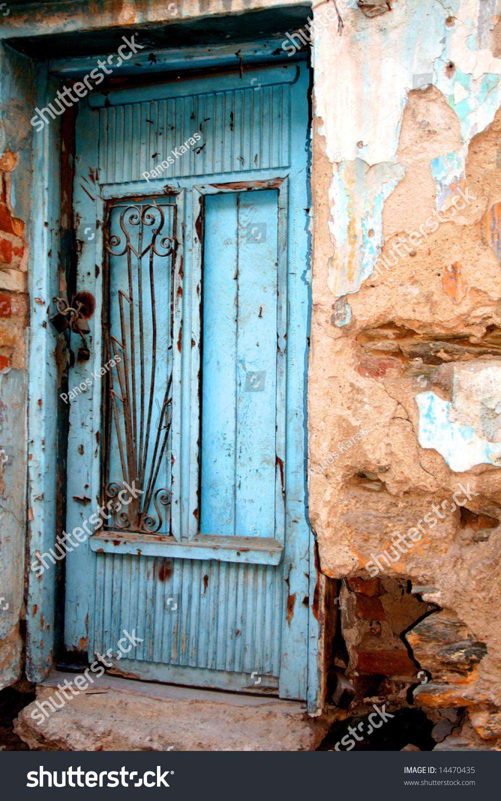 old front door greek traditional village stock photo