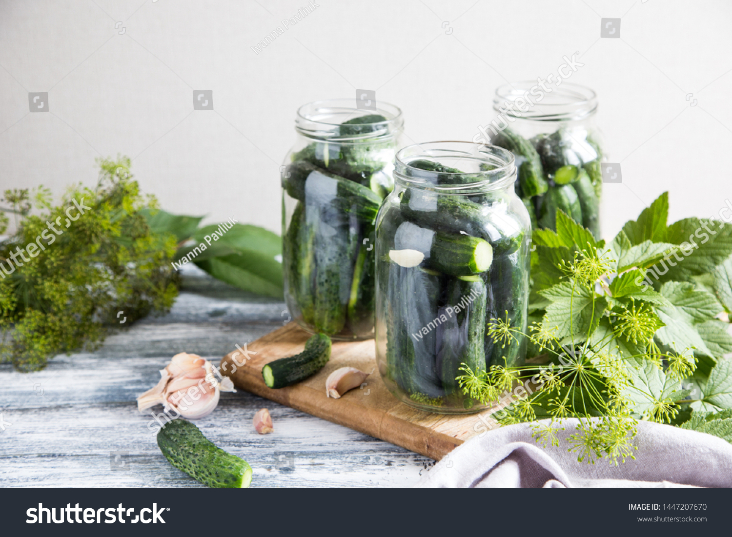 Cucumbers Spices Herbs Preservation Jar Homemade Stock Image