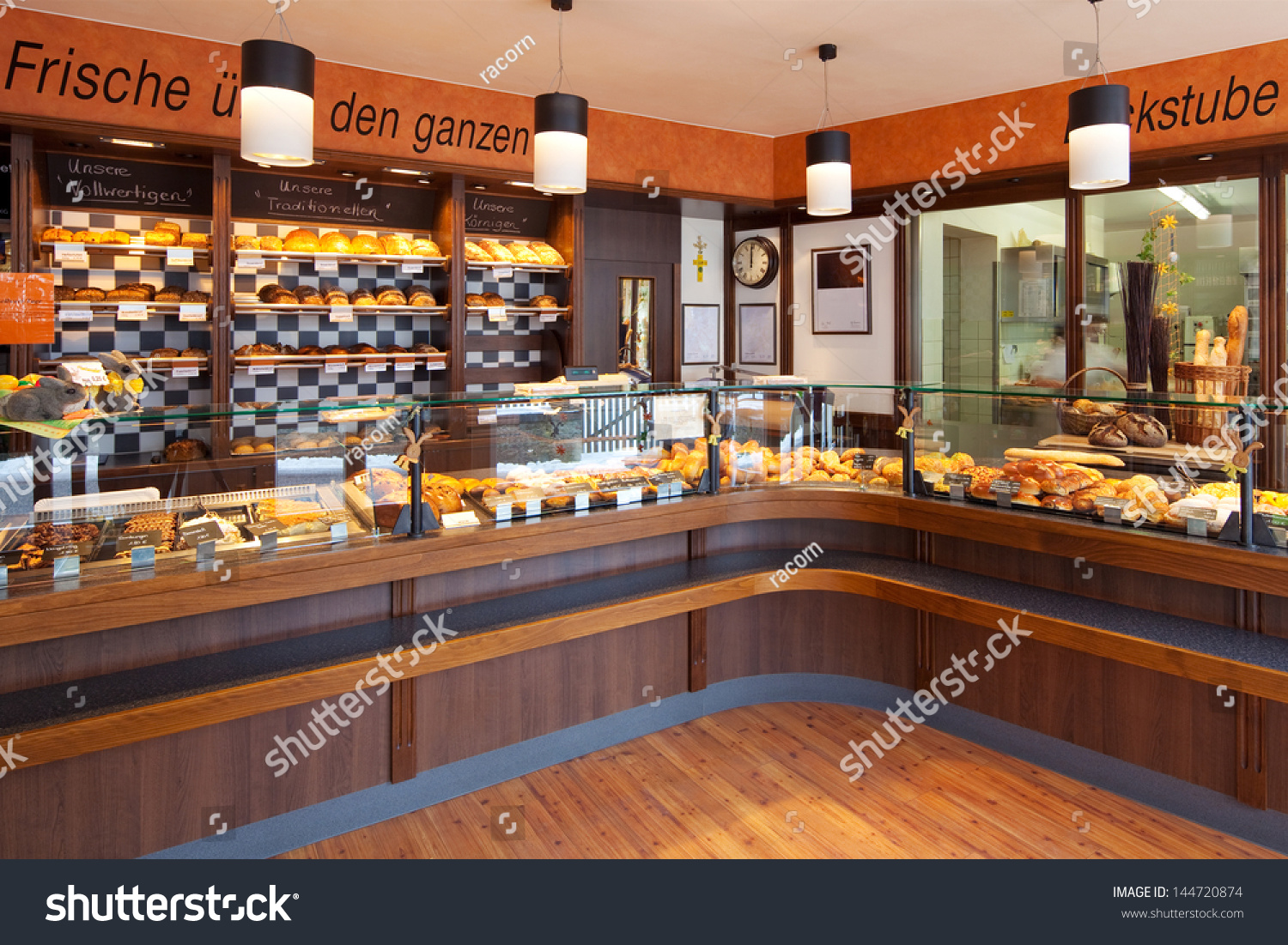 Modern Bakery Interior Glass Display Counters Stock Photo