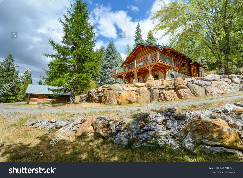 Picturesque Mountain Log Home Walkout Basement Stock Photo (Edit Now)  1447408592