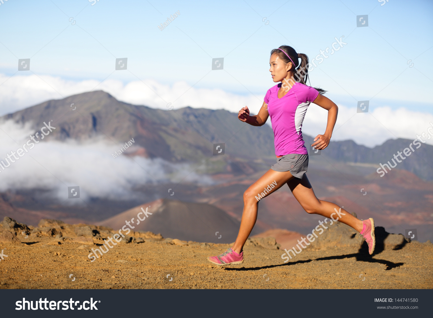 Female Running Athlete Woman Trail Runner Stock Photo ...