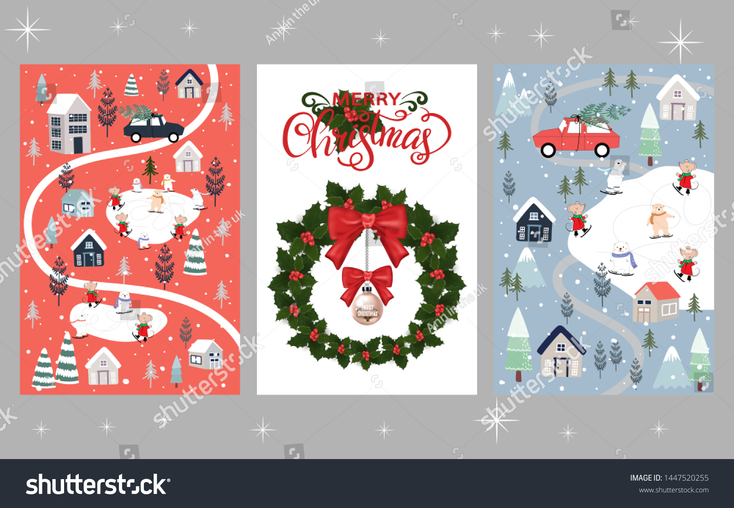 stock vector set of cute christmas background winter wonderland polar bear and rats celebration in christmas 1447520255