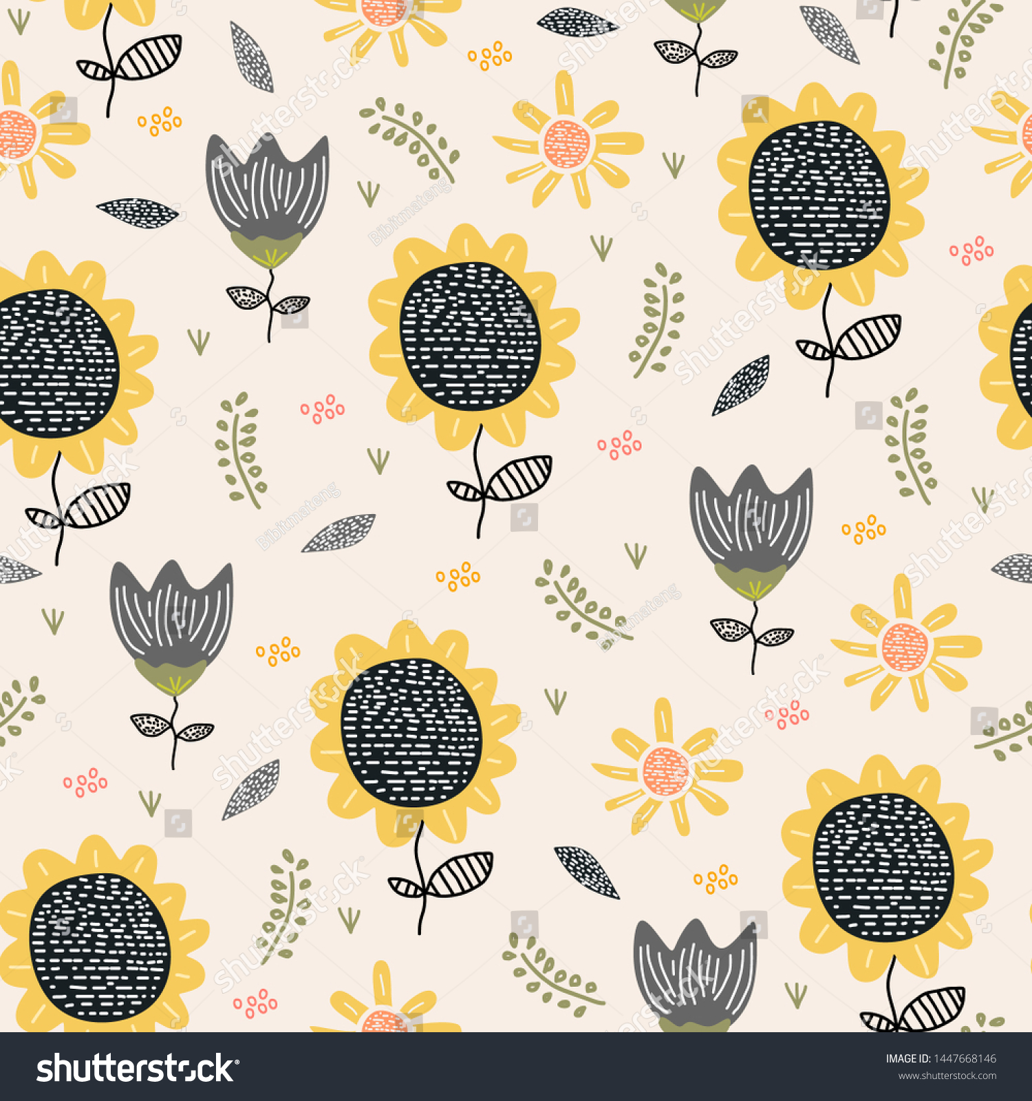 Sun Flower Pattern Drawing Background Seamless Stock Vector