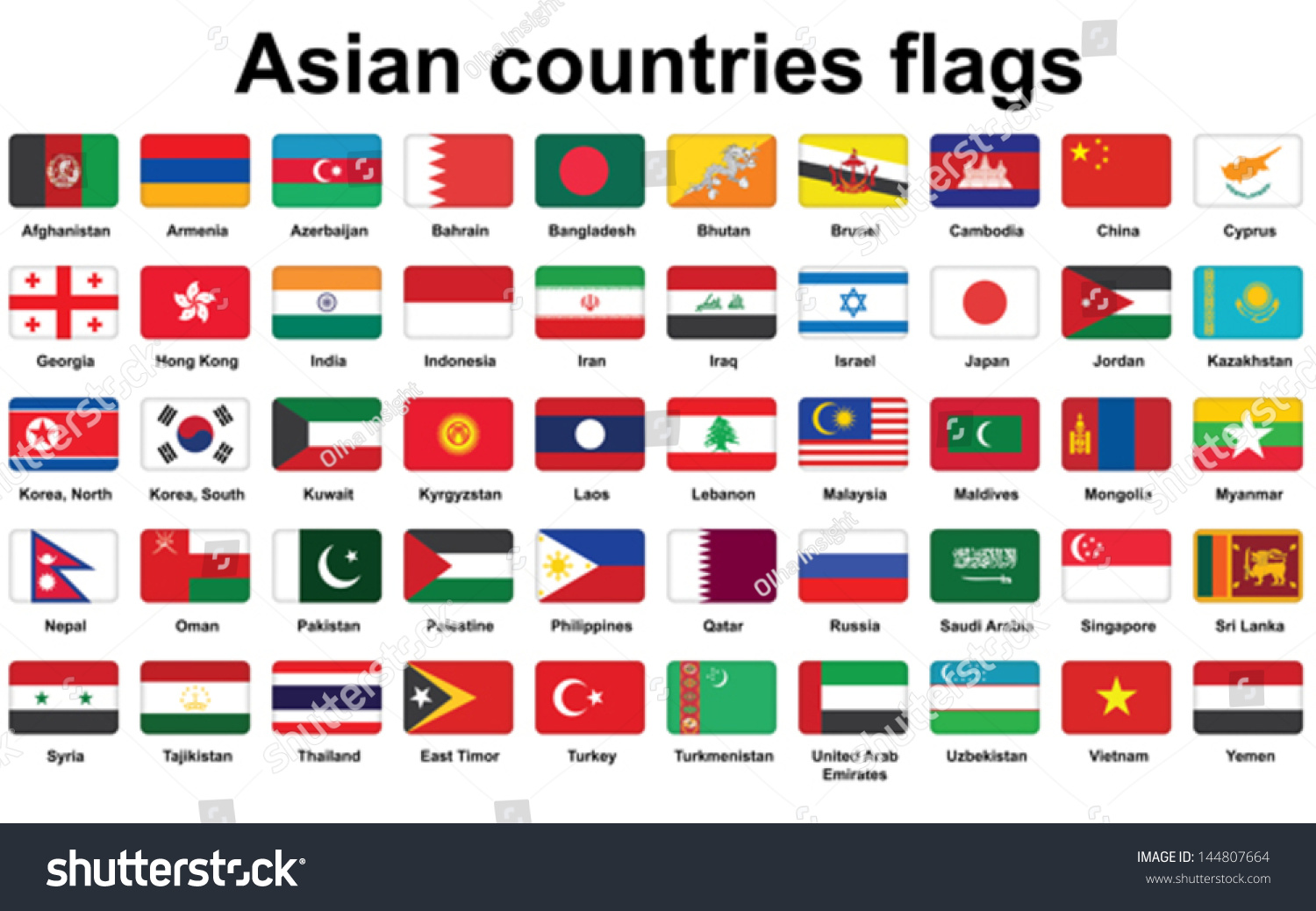 Set Asian Countries Flags Icons Rounded Stock Vector 144807664 ...