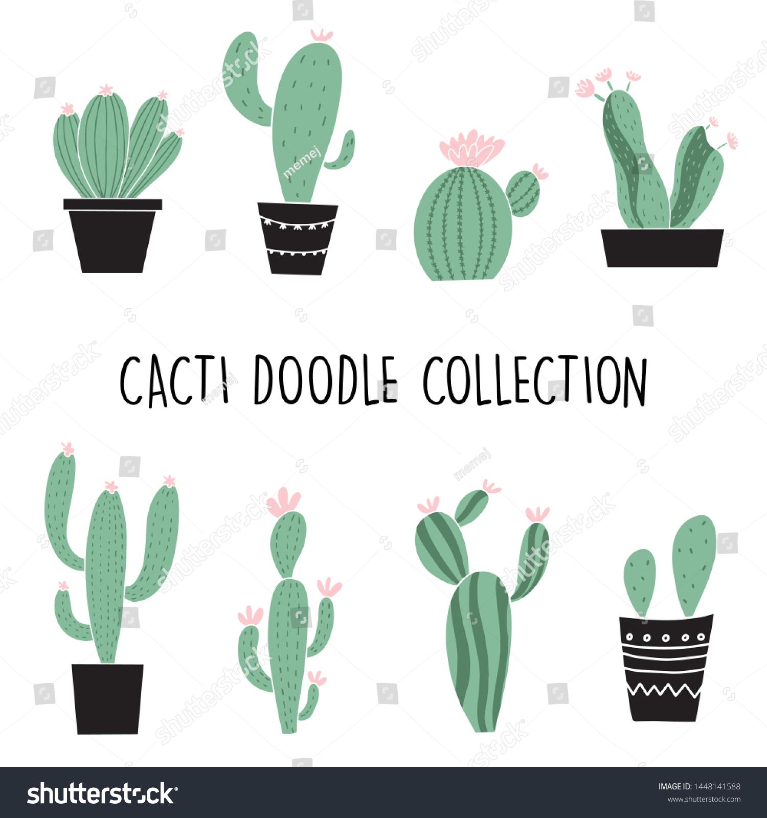 Set Cute Cartoon Cactus Succulents Drawing Stock Vector Royalty Free 1448141588