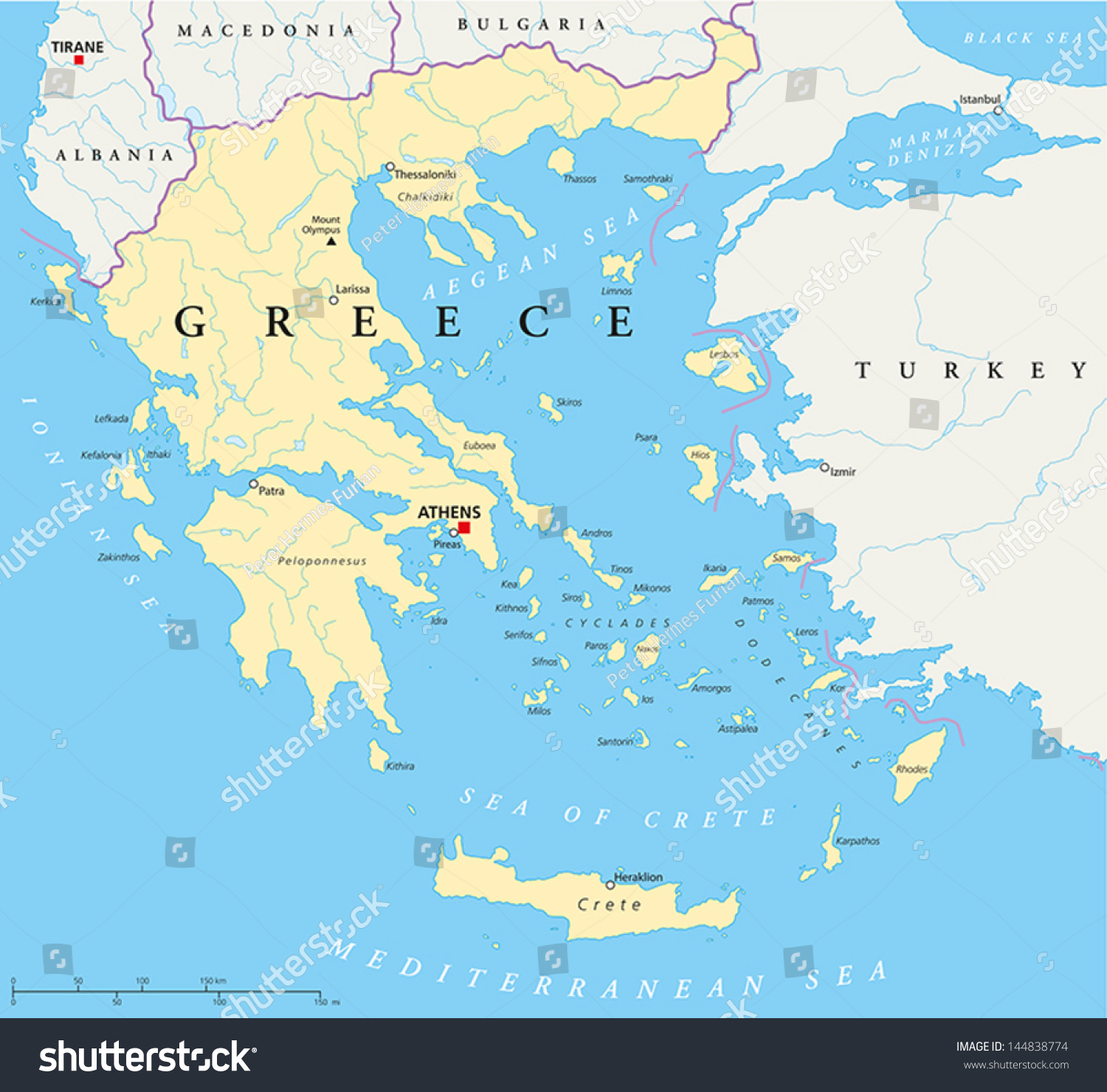 Greece Political Map Hand Drawn Map Stock Vector - Political map of greece
