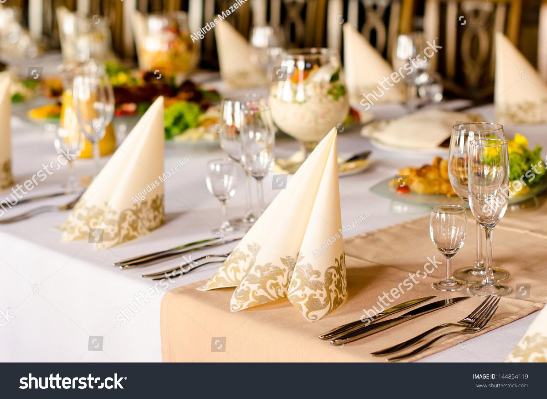 luxury table setting catered function elegant stock photo