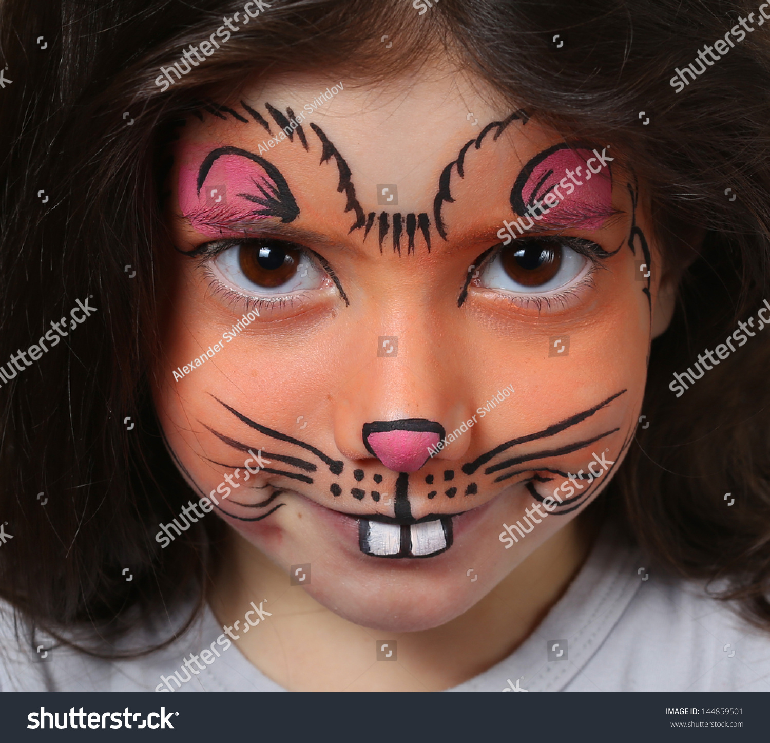 Pretty Girl Face Painting Mouse Stock Photo 144859501 Shutterstock