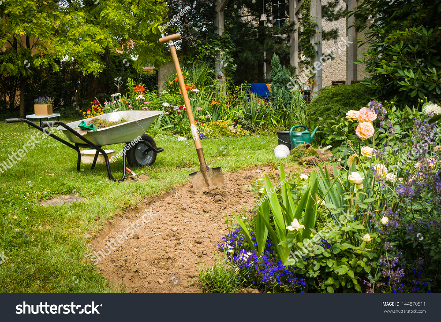 Work In Garden Digging New Flower Beds Stock Photo