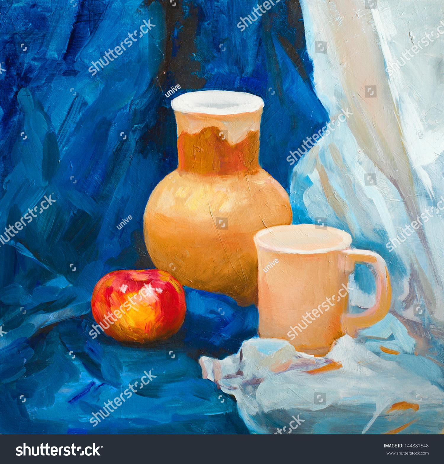 Ceramic Clay Jug Ceramic Cup Rustic Stock Illustration 144881548