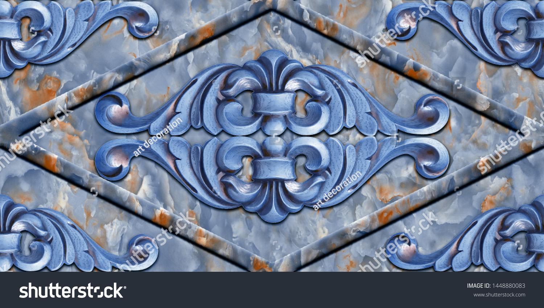 Illustration Ceramic Traditional Art Wall Decor Stock Illustration 1448880083