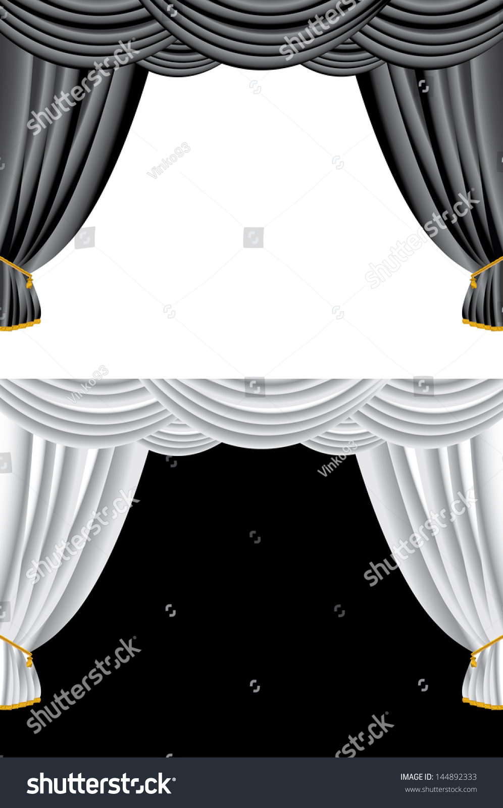 Black and white stage curtain - Vector Illustration Of Black And White Curtains