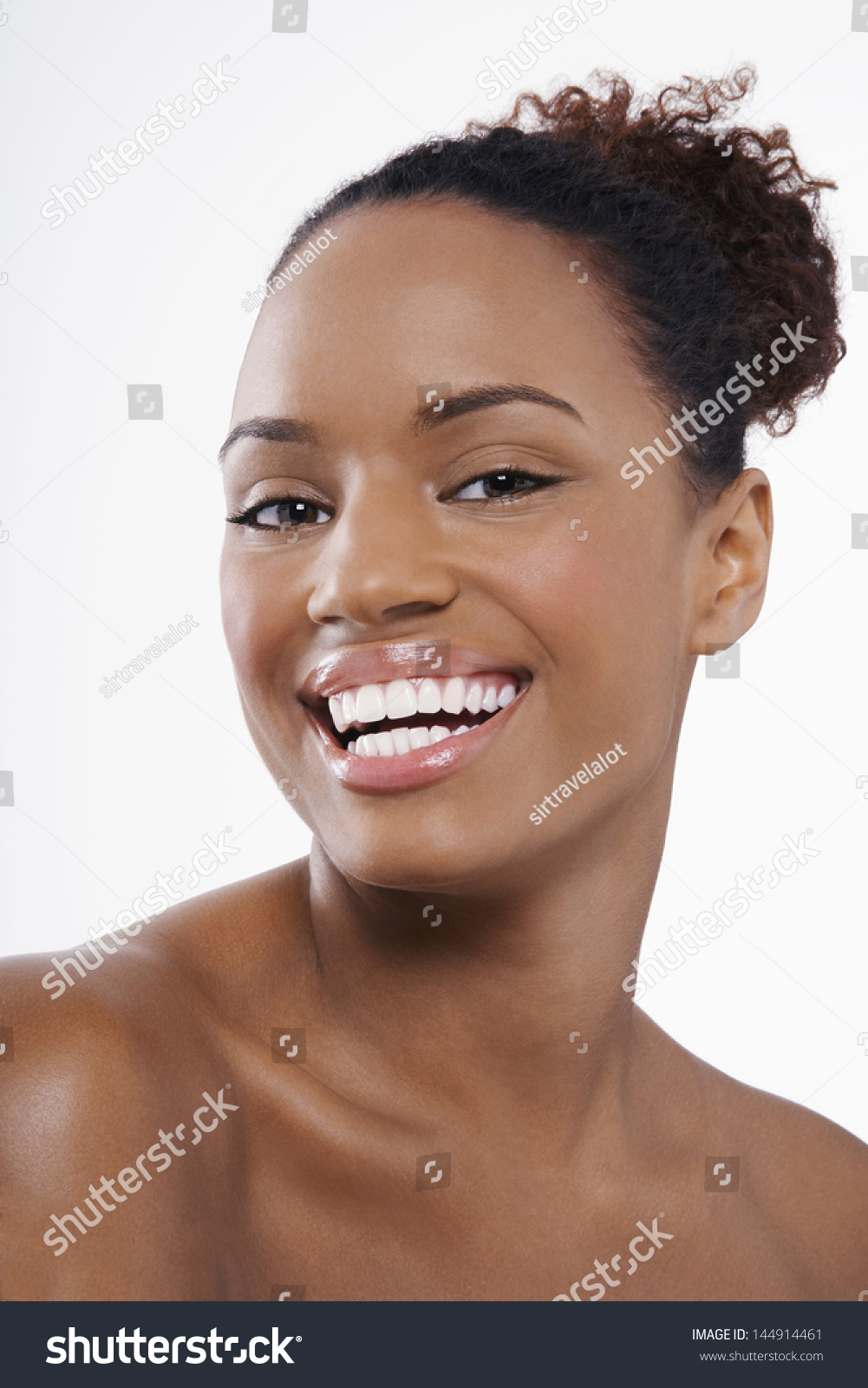 Picture Perfect American Cottage How To Decorate Interiors: Closeup Portrait Smiling African American Woman Stock
