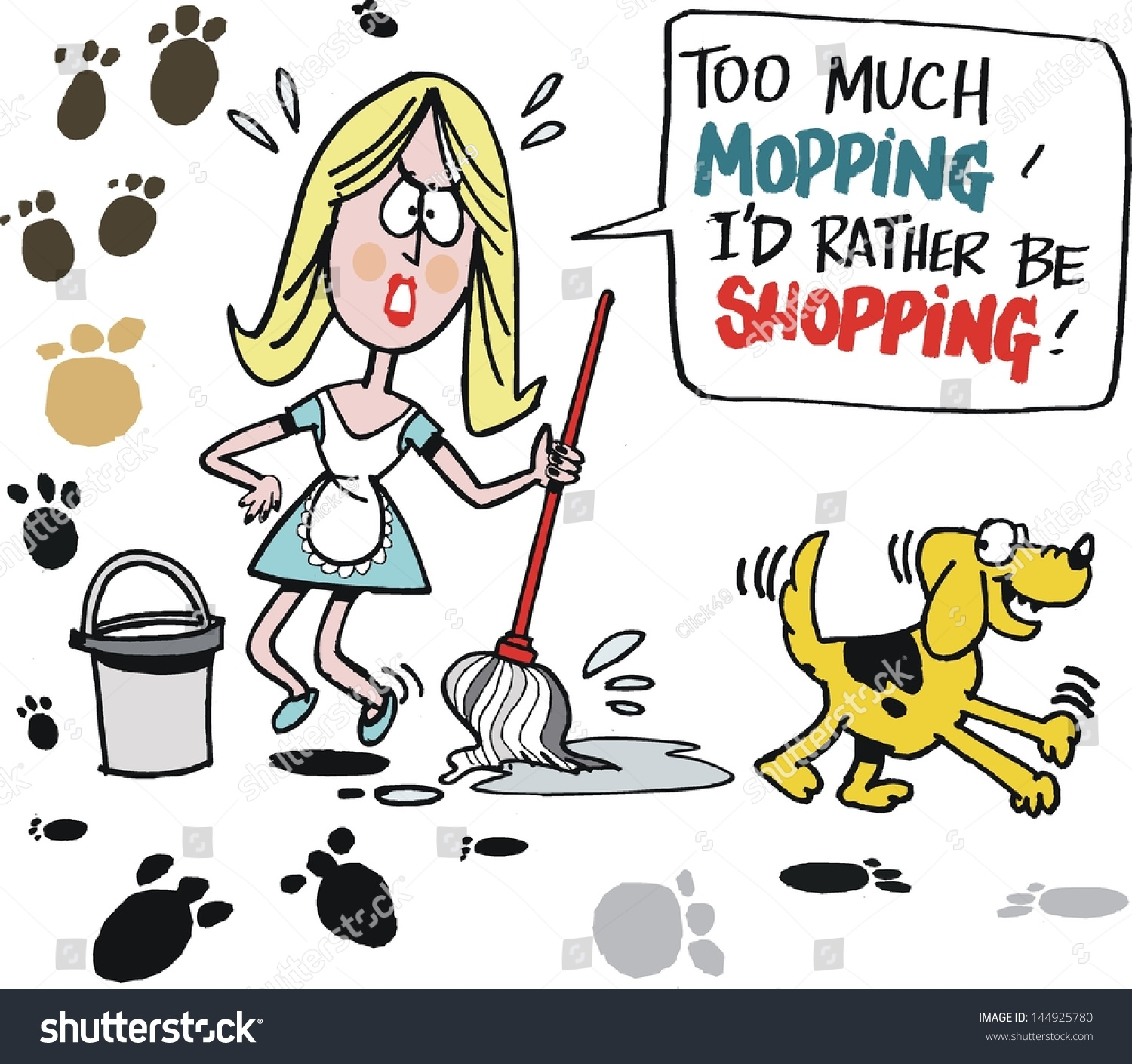 Vector Cartoon Tired Housewife Mopping Kitchen Stock