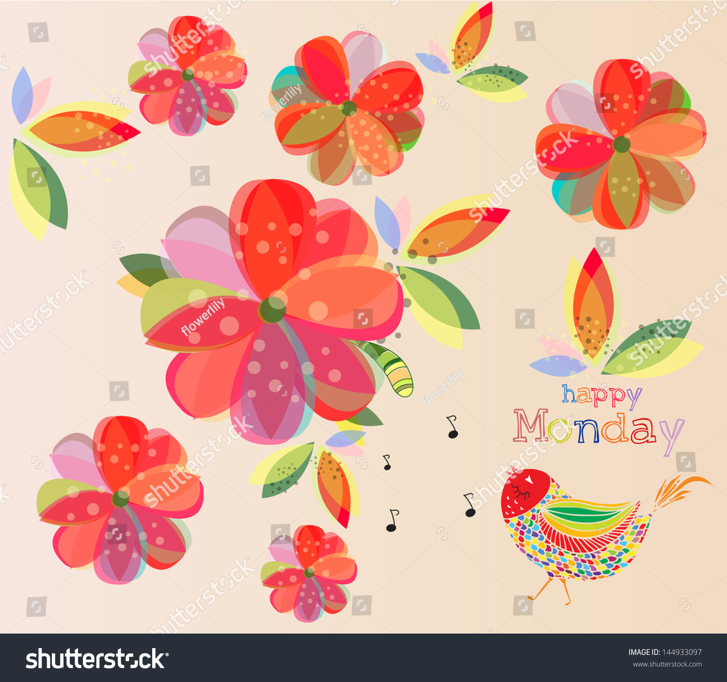 Happy Monday Lovely Wallpaper Colorful Floral 144933097