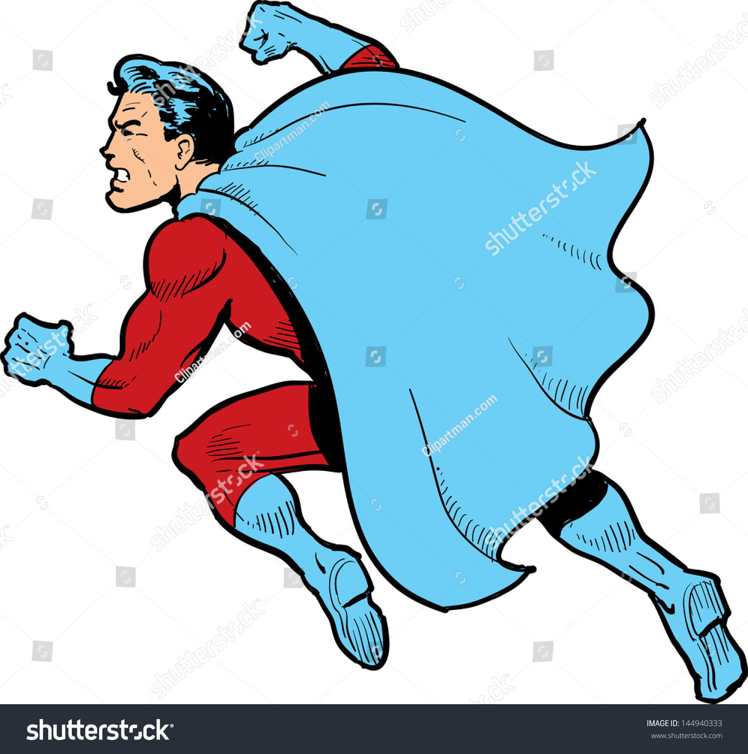 classic superhero cape fighting throwing punch stock illustration rh shutterstock com superhero cape clipart black and white
