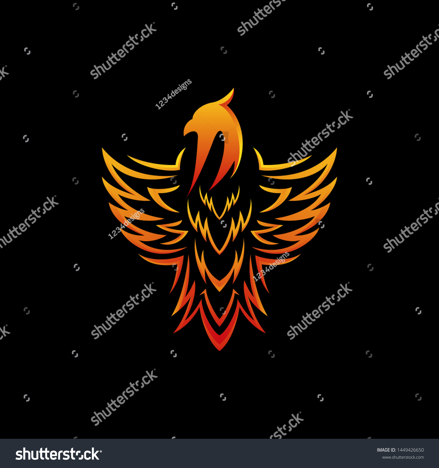 Stylized Graphic Phoenix Bird Tribal Logo Stock Vector Royalty Free 1449426650