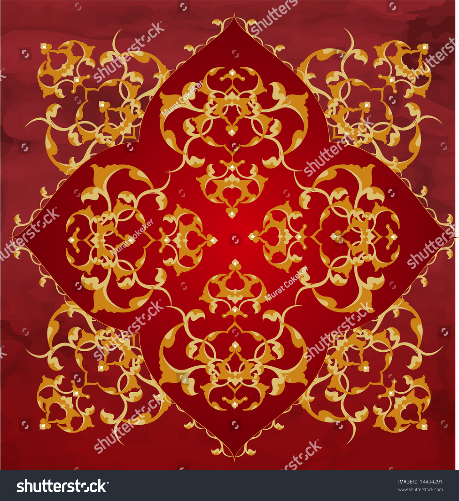 Turkish Design Wallpaper : Antique ottoman turkish wallpaper illustration design