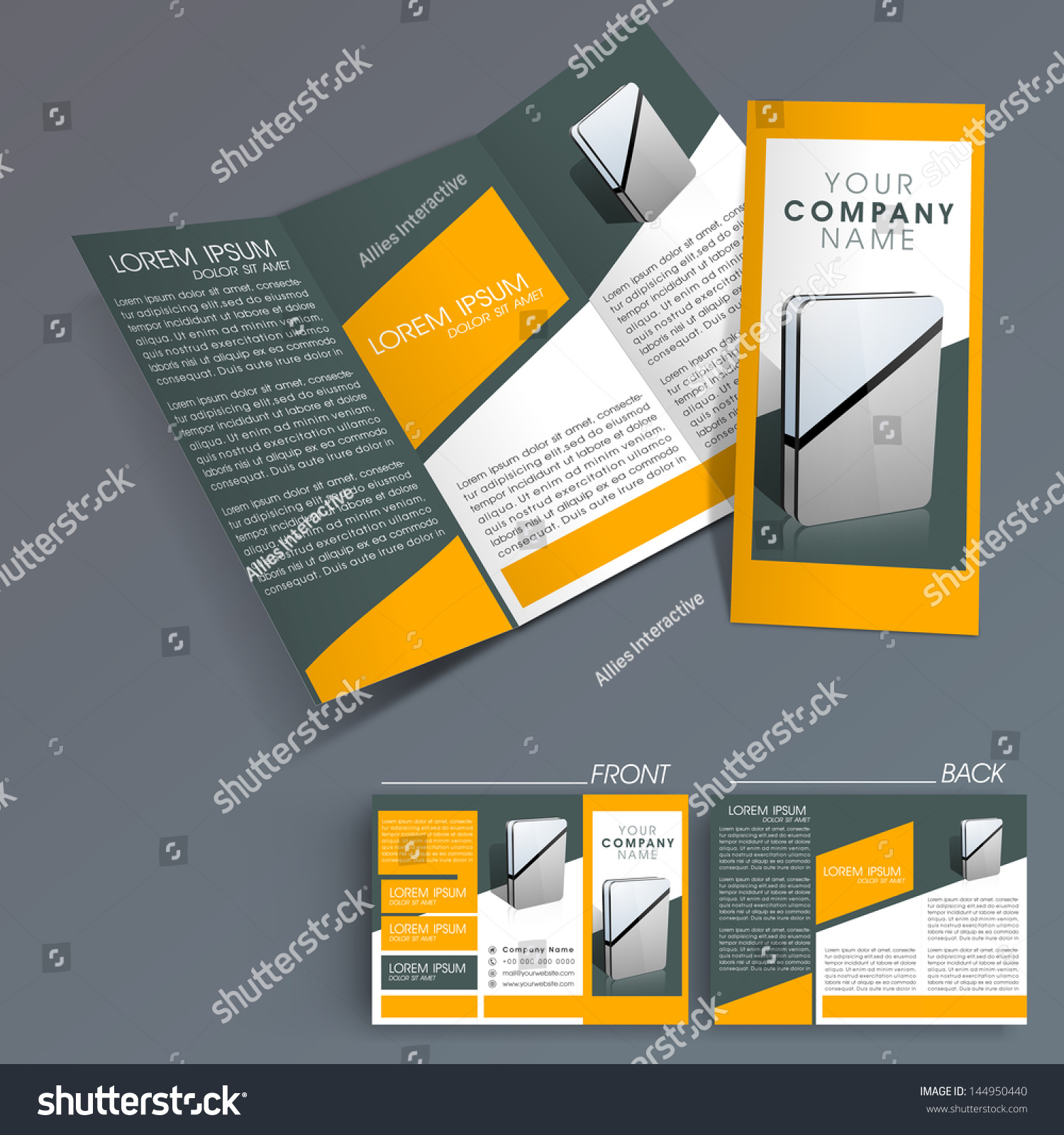 Professional Business Three Fold Flyer Template Stock Vector - Mini brochure template
